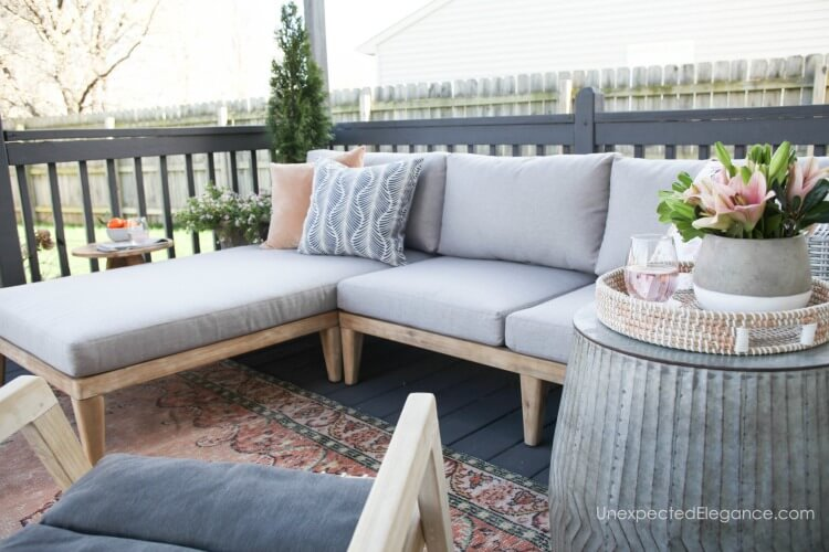 If you want to add some comfortable outdoor seating to your patio, check out this amazing sectional.  It is large enough for a crowd!