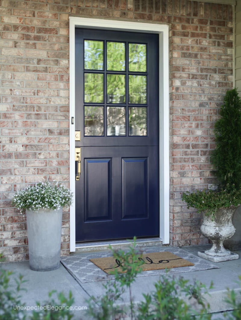 I Am Loving My New Front Door Makeover The Navy Dutch Door And Antique Brass Handset Create A Beautiful And Functional Entrance To Our Home