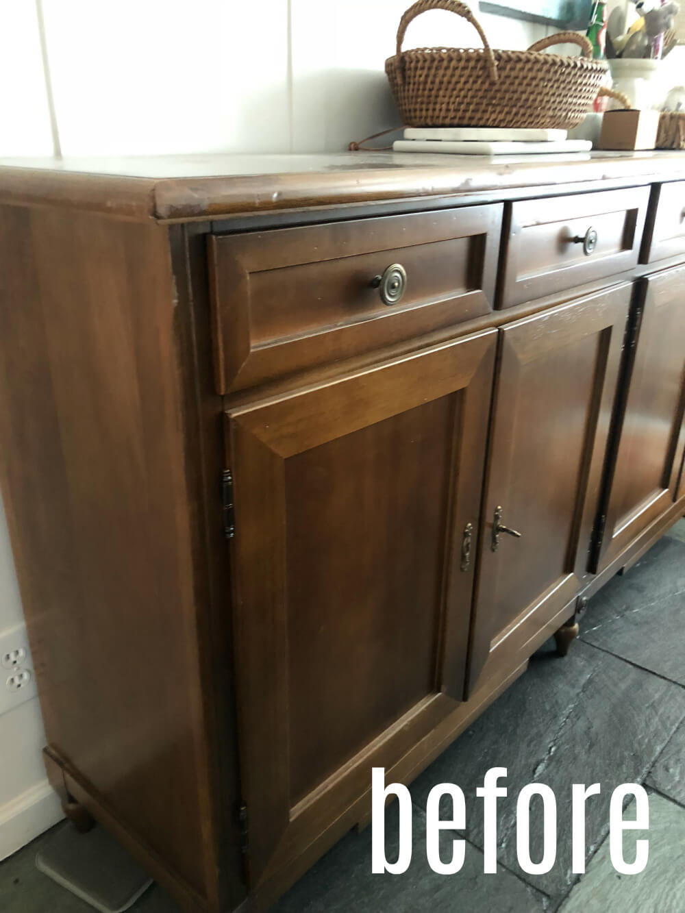 How to update a damaged wooden dresser.