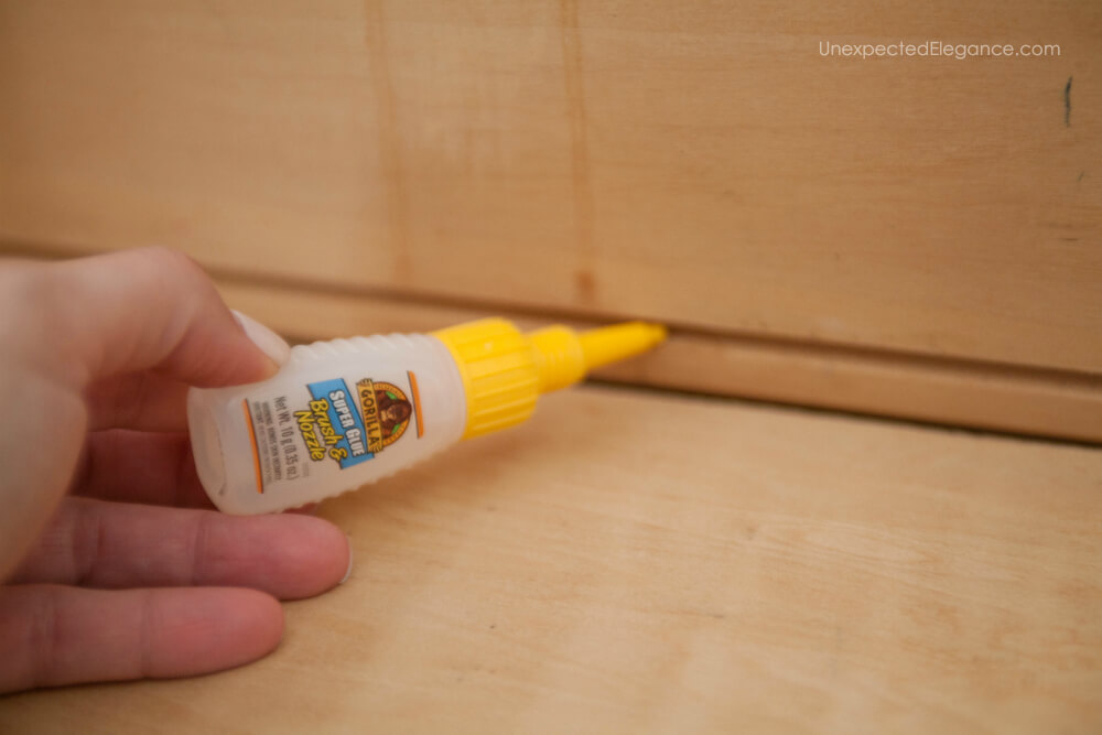 Gorilla Super Glue makes fixing a broken drawer simple!