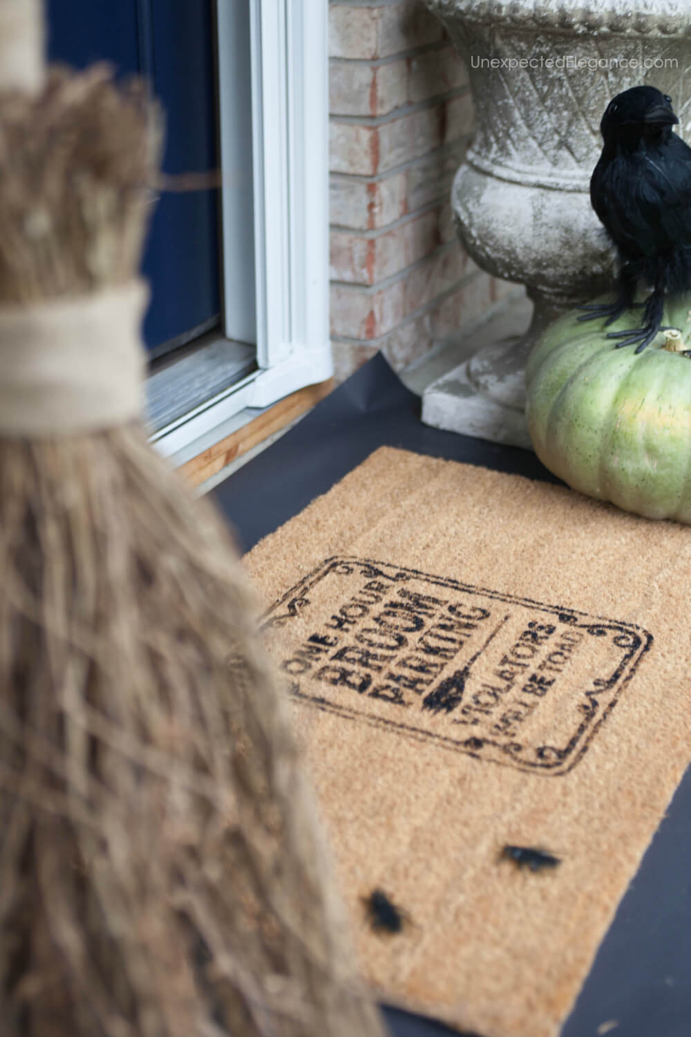 "Get the tutorial for the cute doormat and ""smokey"" cauldron to go with your Halloween themed porch decor."