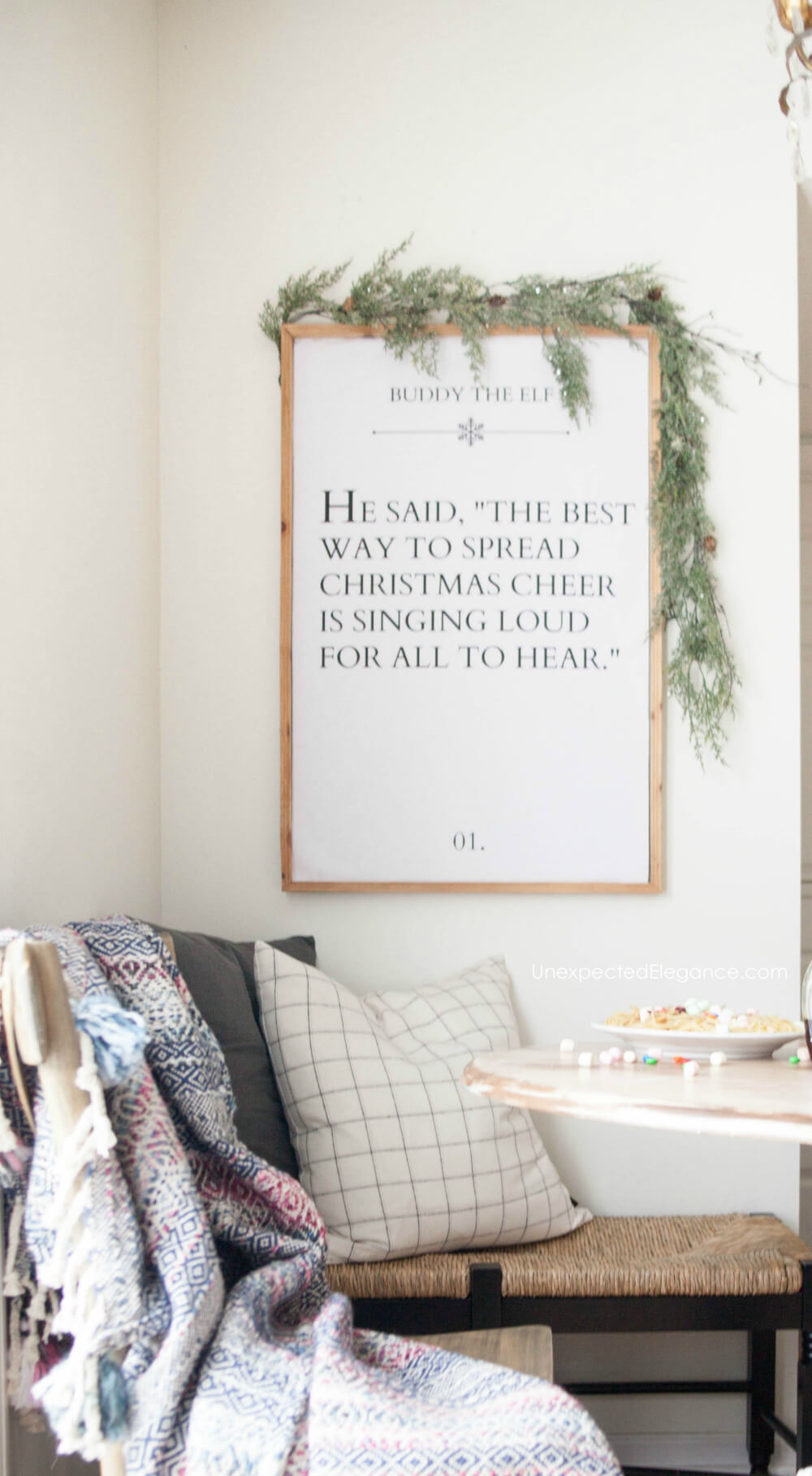 "Download this free ELF movie quote printable-""The best way to spread Christmas cheer is singing loud for all to hear!"" #freeprintable #christmasprintable #Elfmovie"