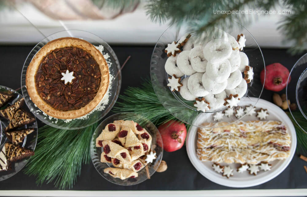 Get a quick and easy tutorial for making a holiday dessert bar with DIY coordinated cake stands you can make in minutes! #DIY #dessertbar #cakestand