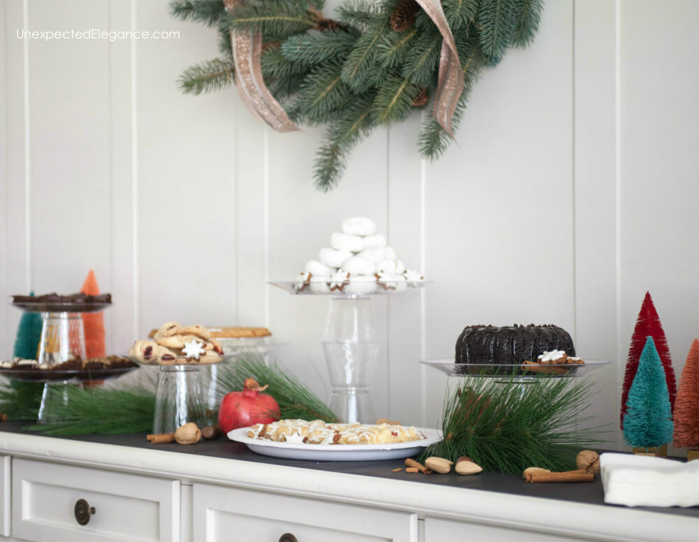 Get tips for setting up a beautiful and EASY dessert bar. Also get a tutorial for making custom cake stands in under 2 minutes!
