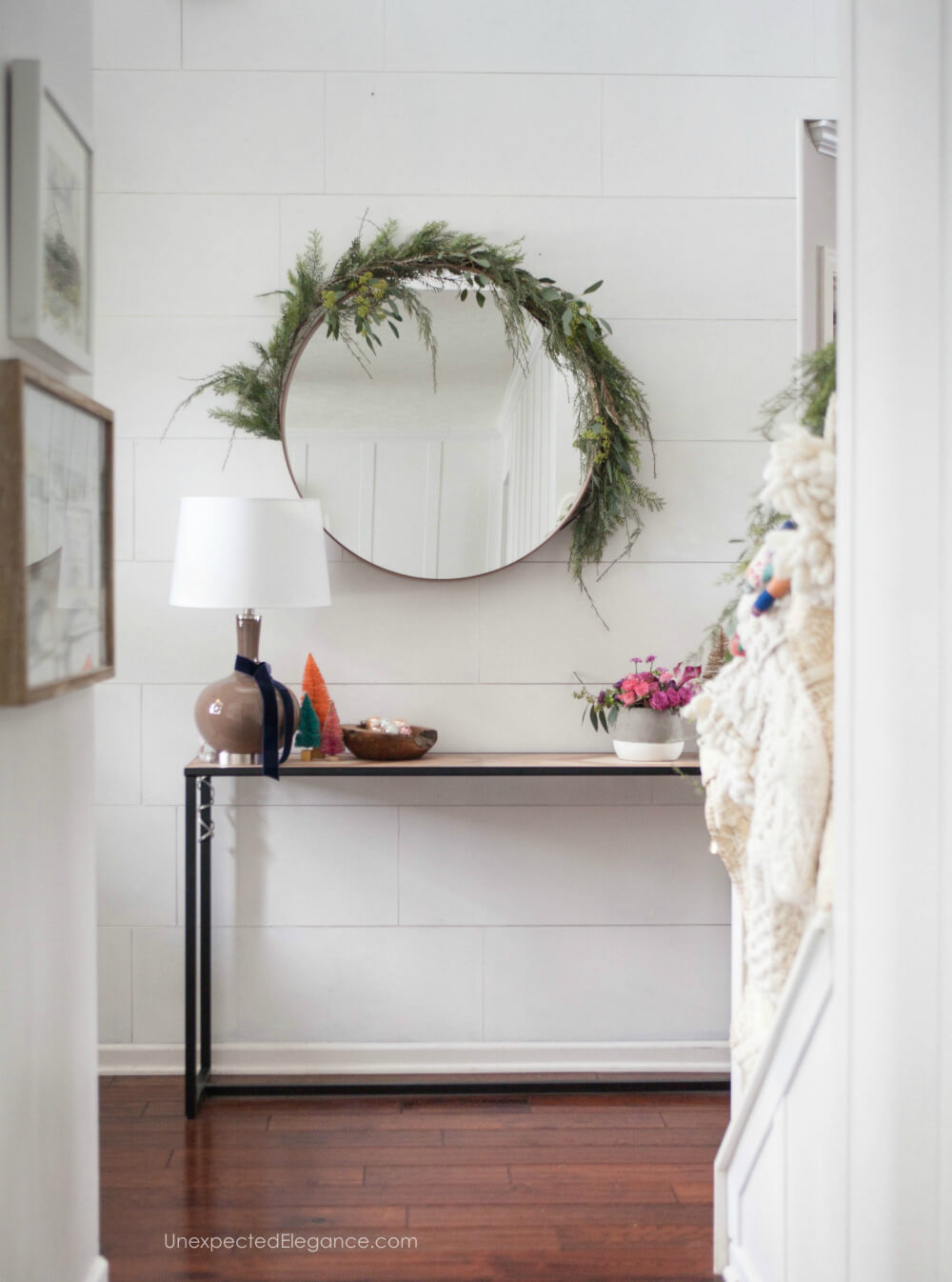 Get a few ways to deck the hallway this holiday season. Find out where to get items and how to put it all together! #holidaydecor #christmasdecor