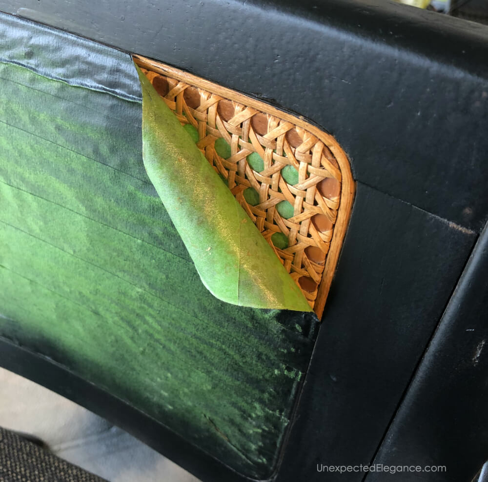 How to preserve the natural color of of a cane back and spray paint the frame.