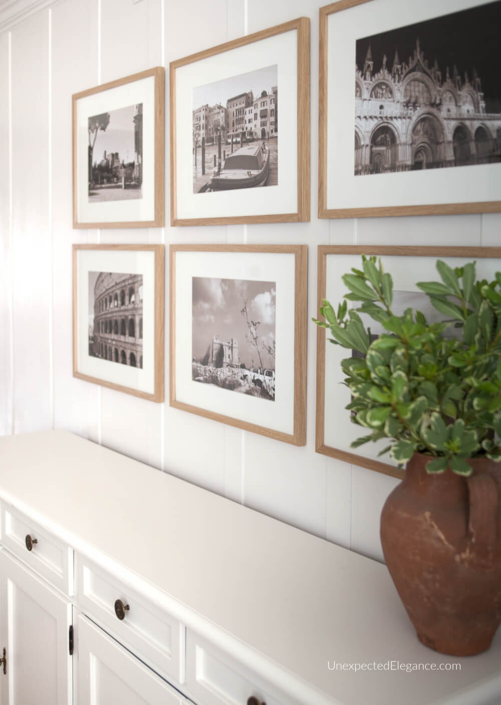 How to hang a gallery wall with simple artwork you create yourself.