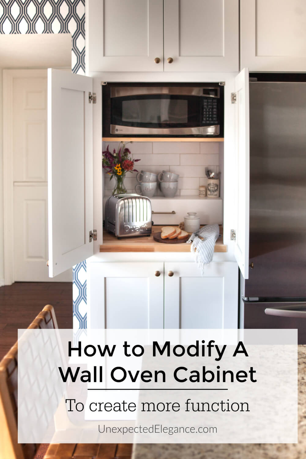 Take your unused wall oven and make it more functional!  See how to modify a single wall oven cabinet to house your small appliances and give you some extra countertop space.